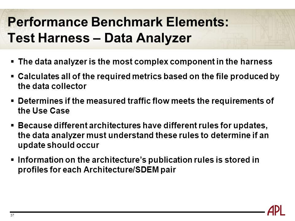 Performance Benchmark Elements: Test Harness – Data Analyzer