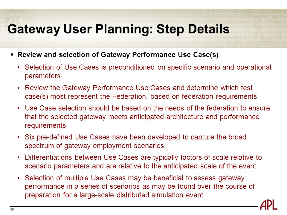 Gateway User Planning: Step Details