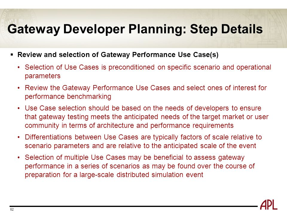 Gateway Developer Planning: Step Details