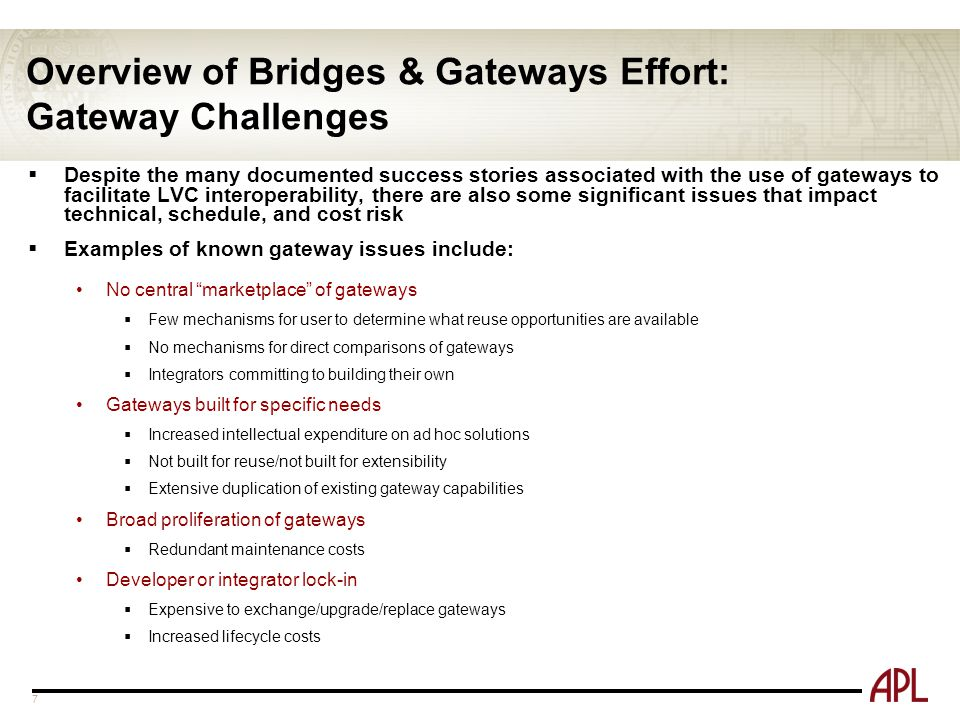 Overview of Bridges & Gateways Effort: Gateway Challenges