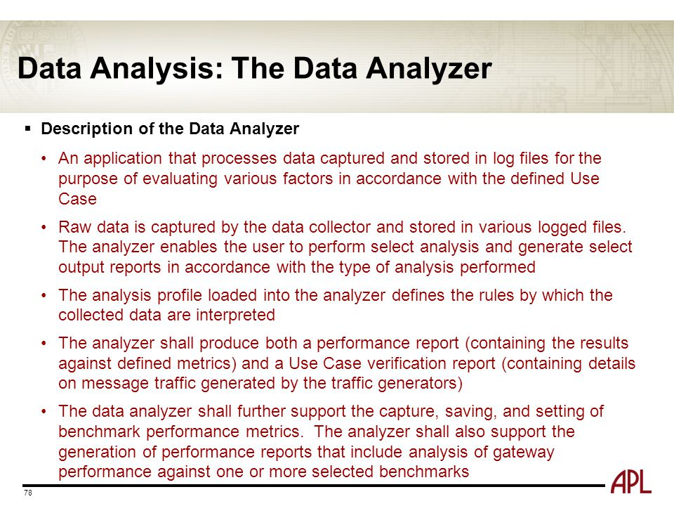 Data Analysis: The Data Analyzer