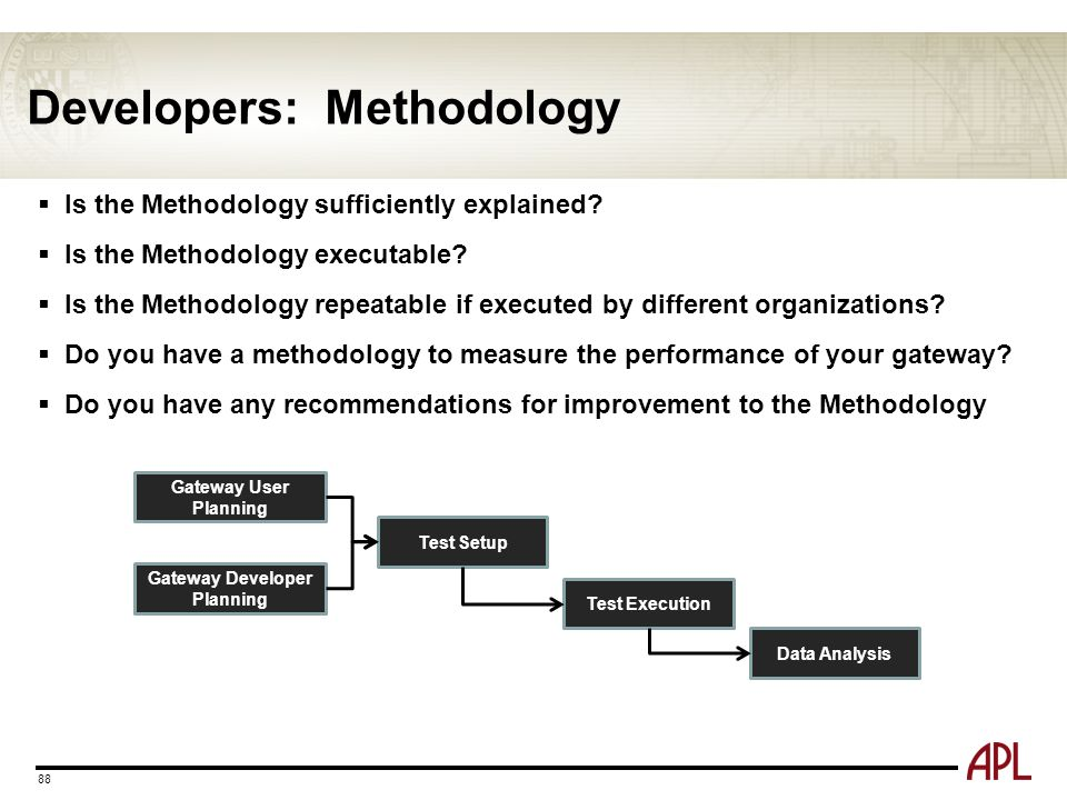 Developers: Methodology