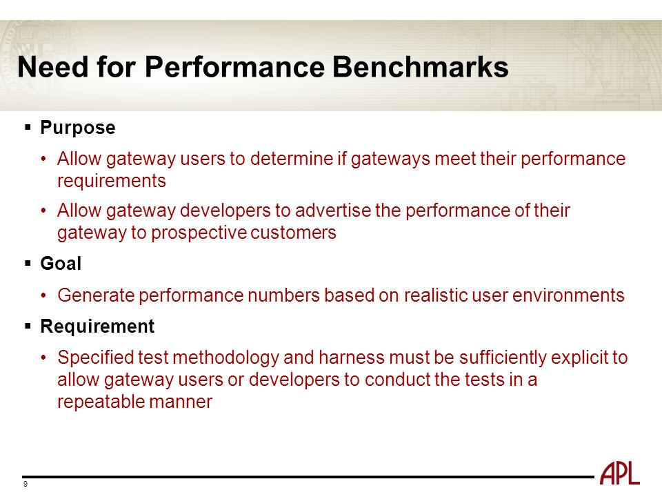 Need for Performance Benchmarks