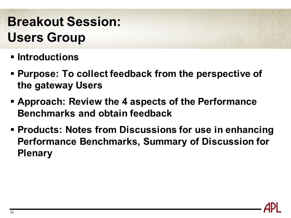 Breakout Session: Users Group