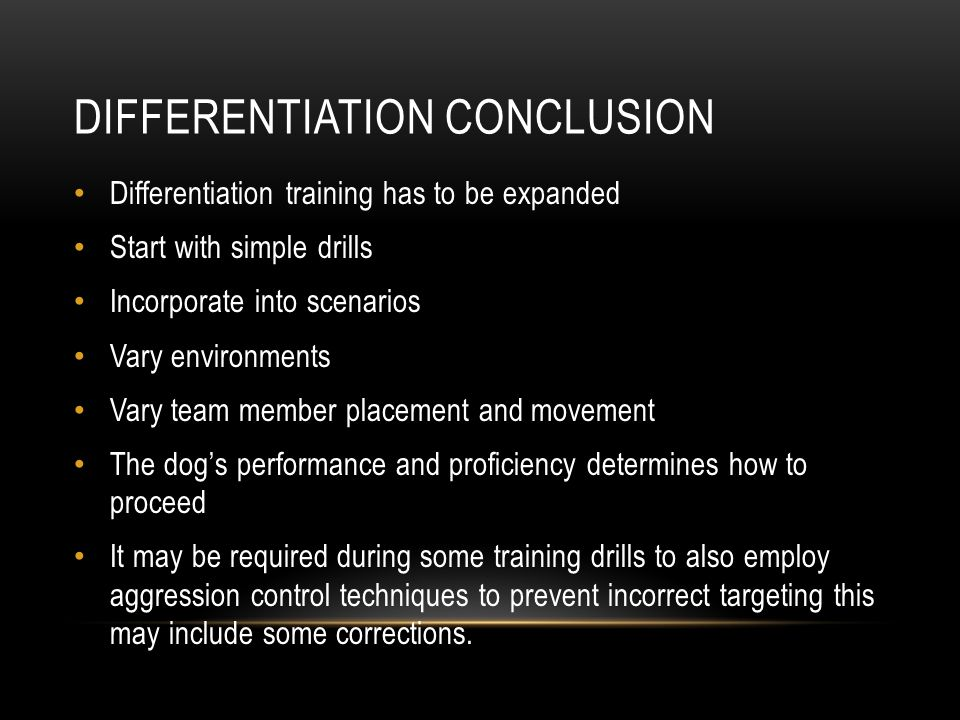Differentiation conclusion