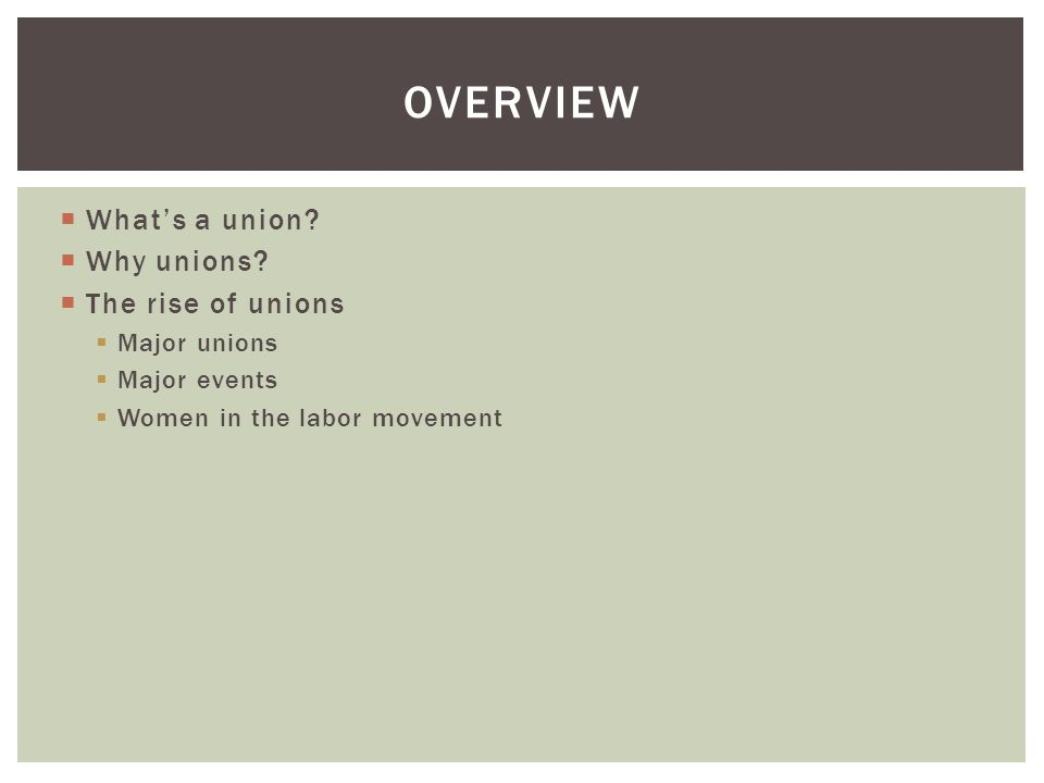 overview What's a union Why unions The rise of unions Major unions