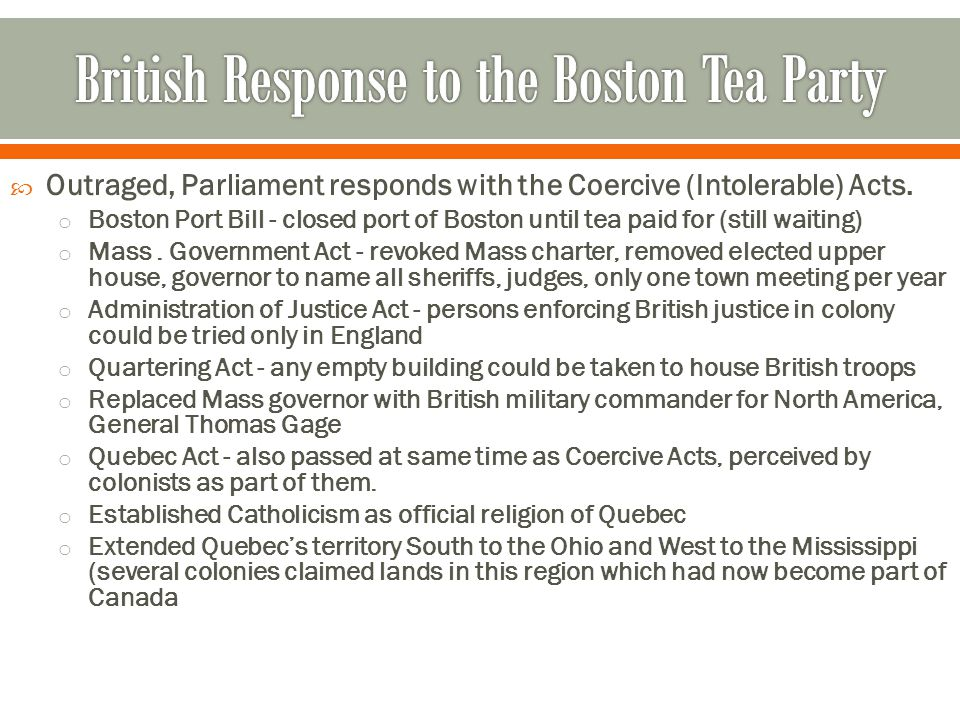 British Response to the Boston Tea Party
