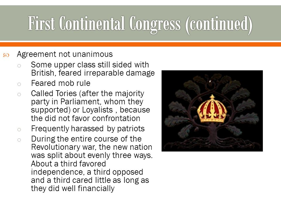 First Continental Congress (continued)