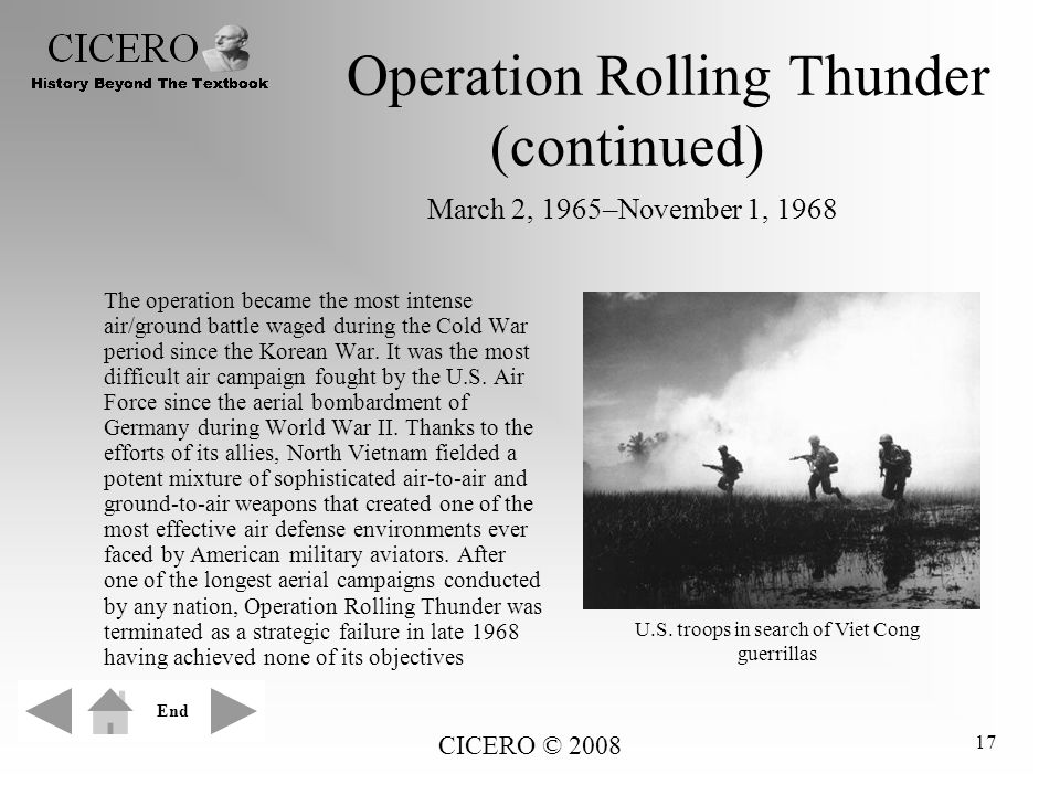 Operation Rolling Thunder (continued) March 2, 1965–November 1, 1968