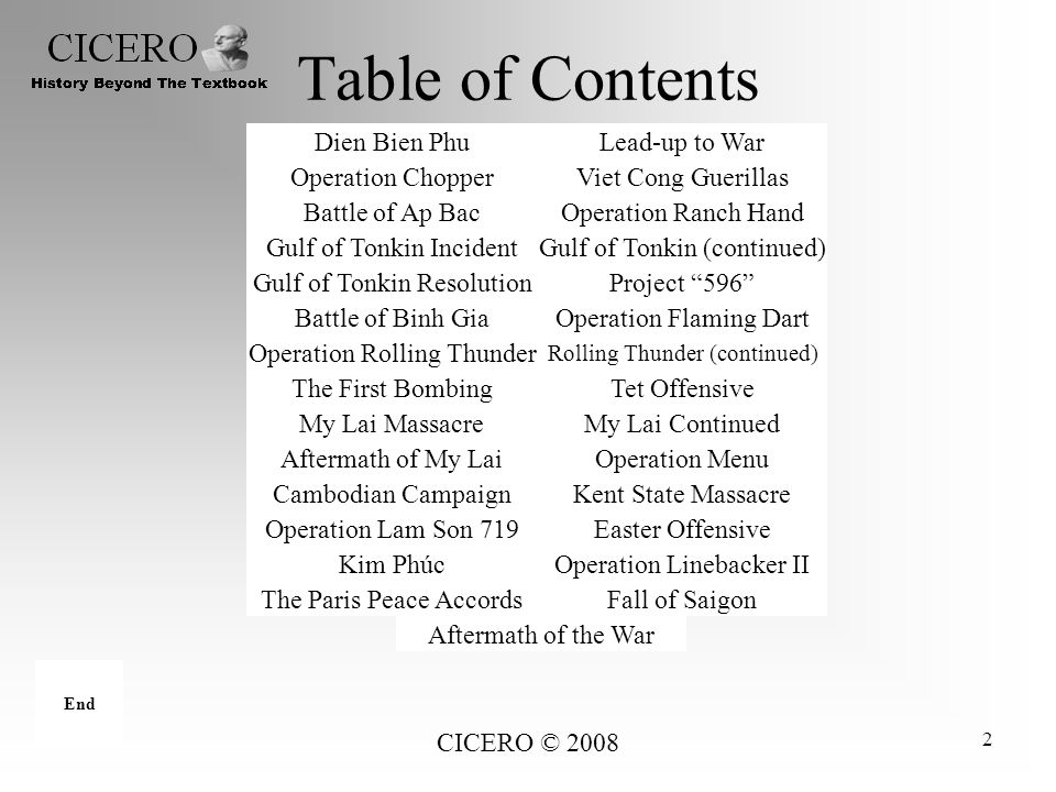 Table of Contents Dien Bien Phu Lead-up to War Operation Chopper