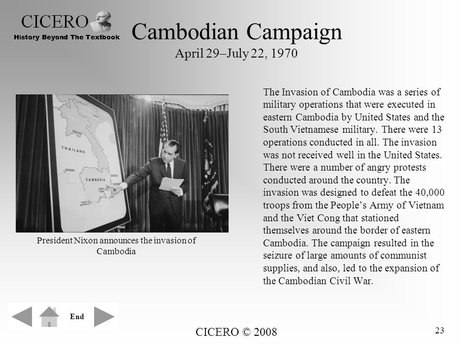 Cambodian Campaign April 29–July 22, 1970