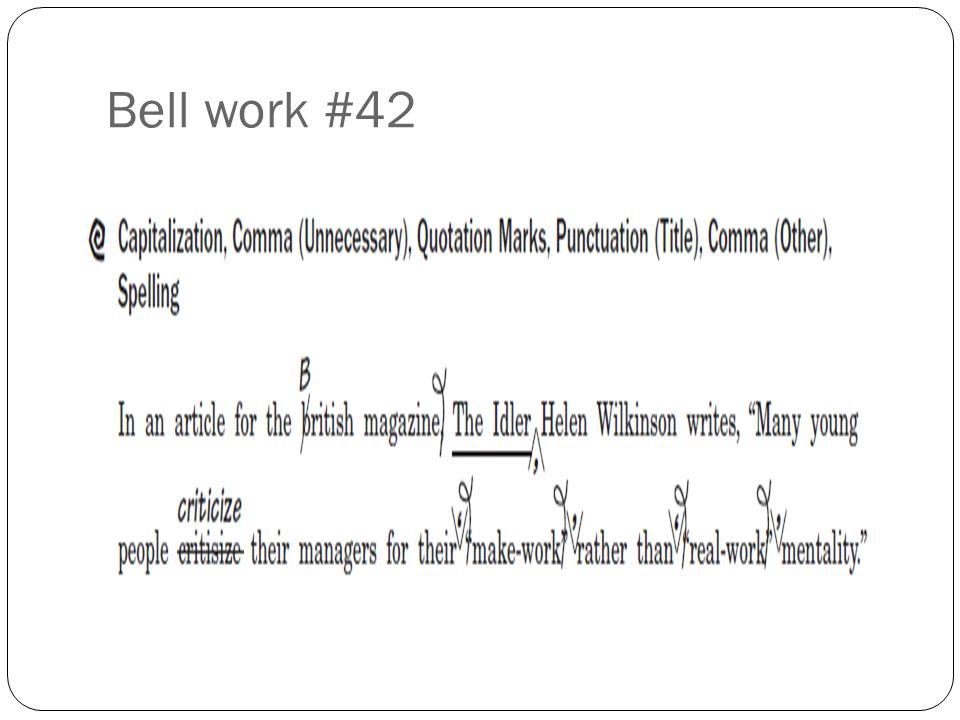 Bell work #42