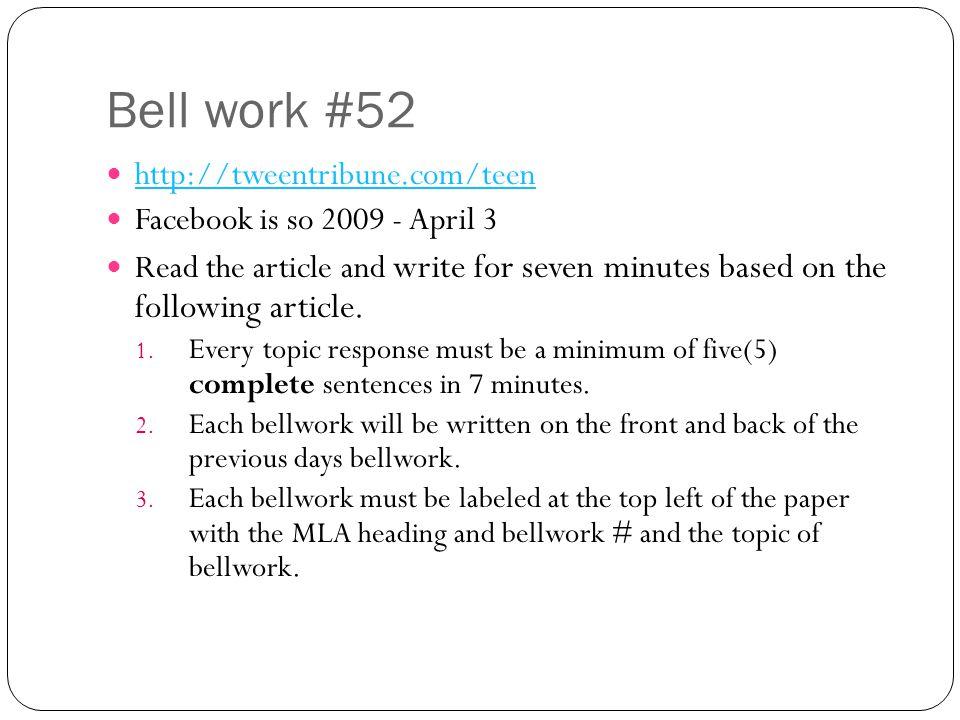 Bell work #52 http://tweentribune.com/teen