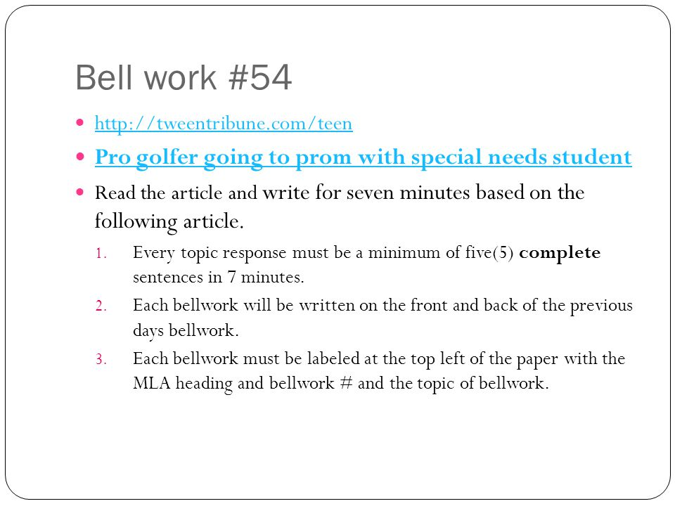 Bell work #54 Pro golfer going to prom with special needs student