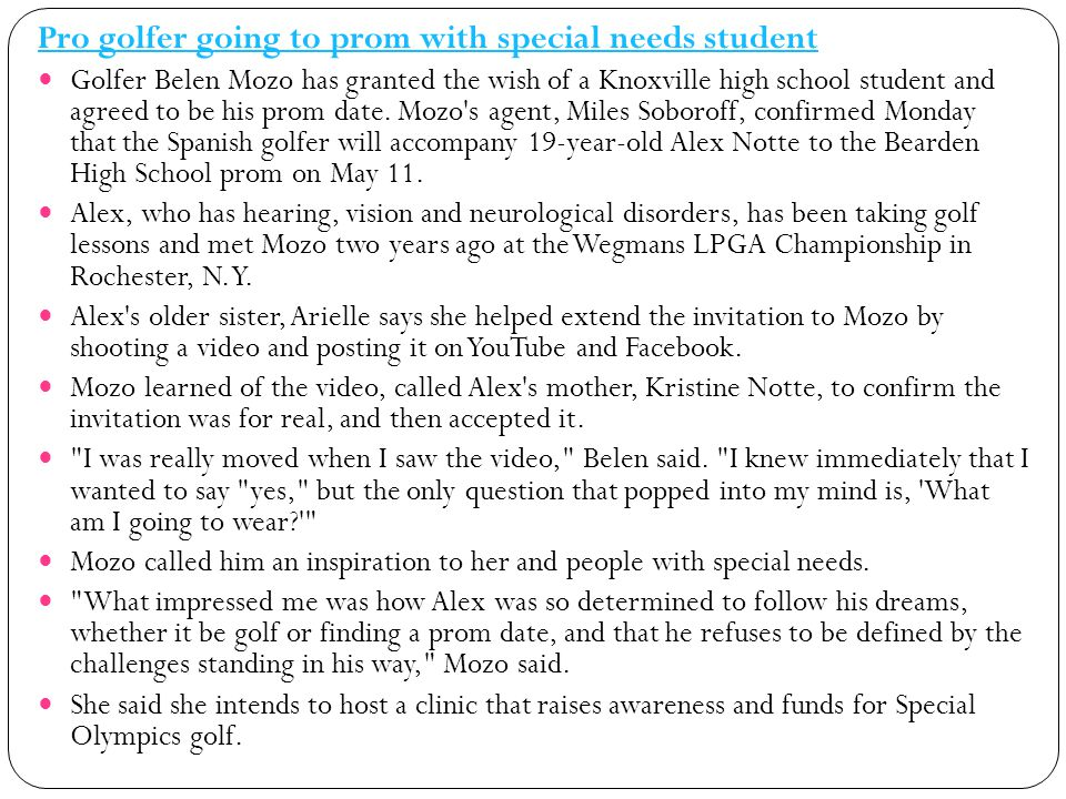 Pro golfer going to prom with special needs student