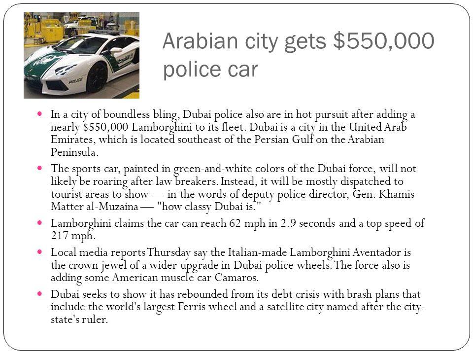 Arabian city gets $550,000 police car