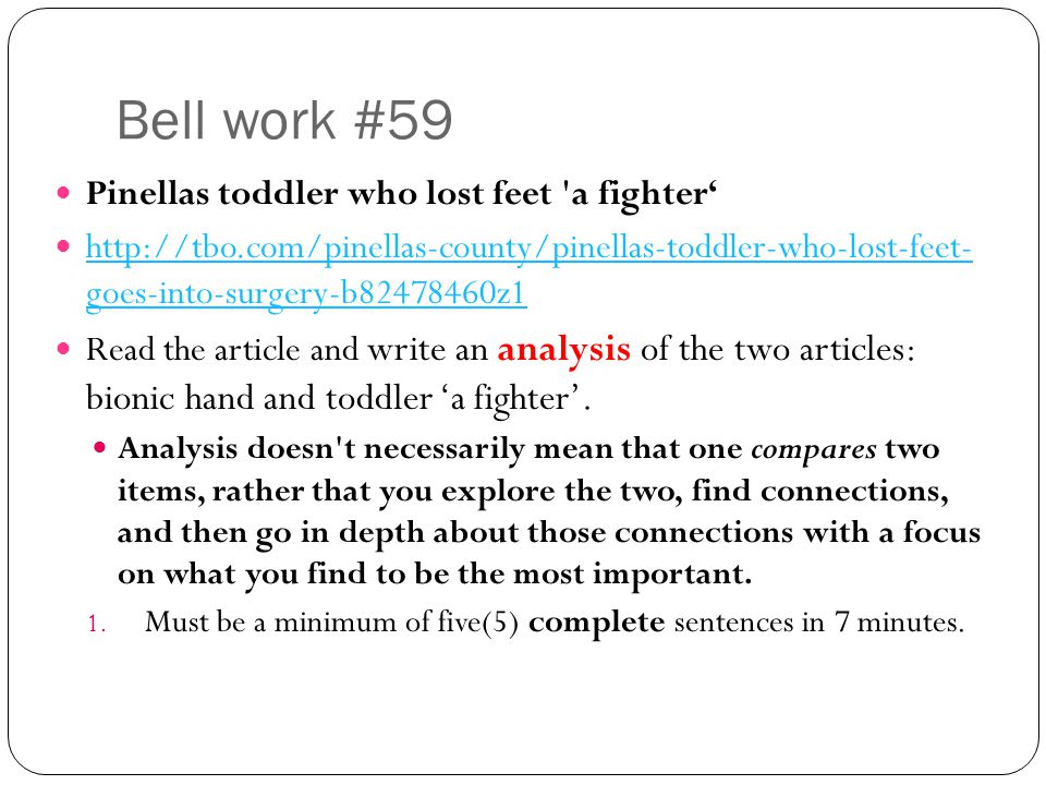 Bell work #59 Pinellas toddler who lost feet a fighter'
