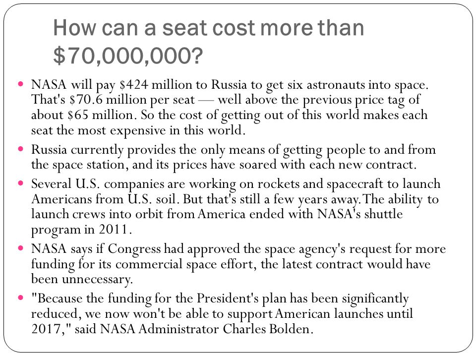 How can a seat cost more than $70,000,000