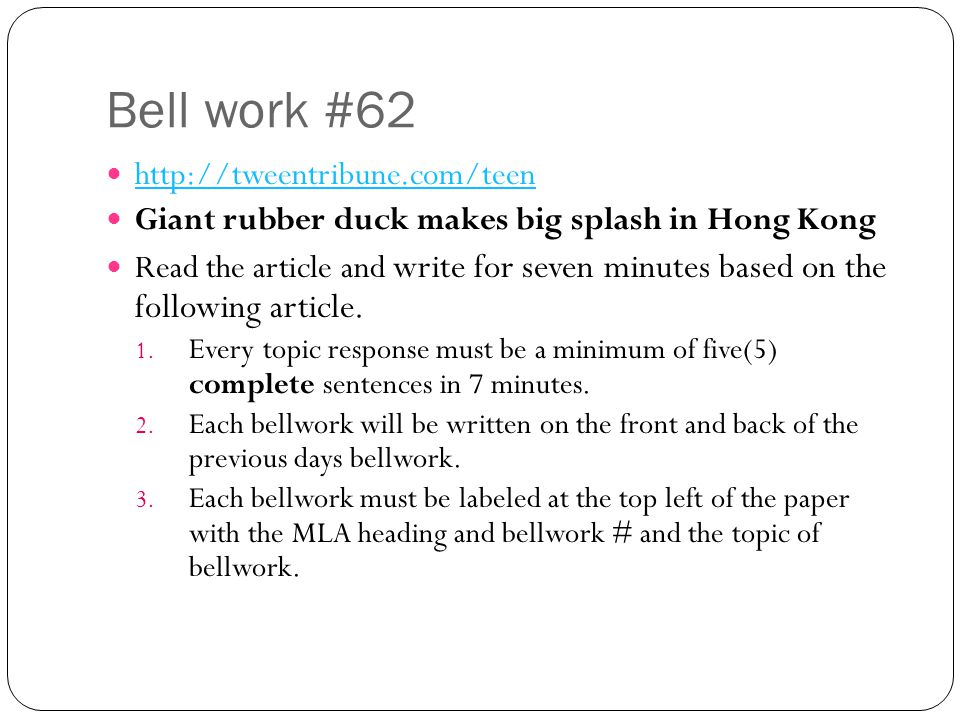 Bell work #62 http://tweentribune.com/teen