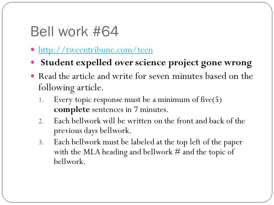 Bell work #64 http://tweentribune.com/teen