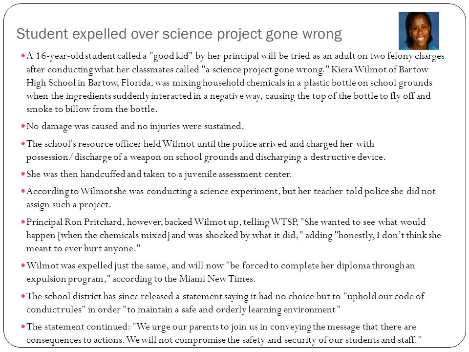 Student expelled over science project gone wrong