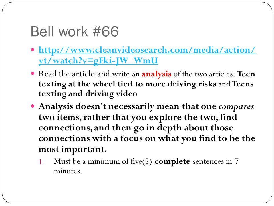 Bell work #66 http://www.cleanvideosearch.com/media/action/ yt/watch v=gFki-JW_WmU.