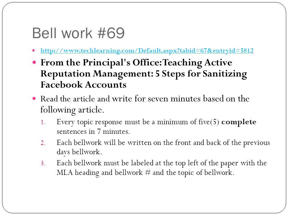 Bell work #69 http://www.techlearning.com/Default.aspx tabid=67&entryid=5812.