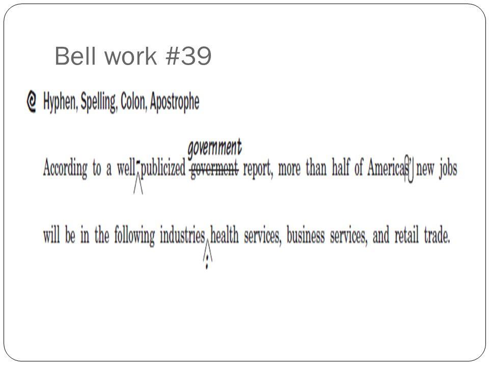 Bell work #39