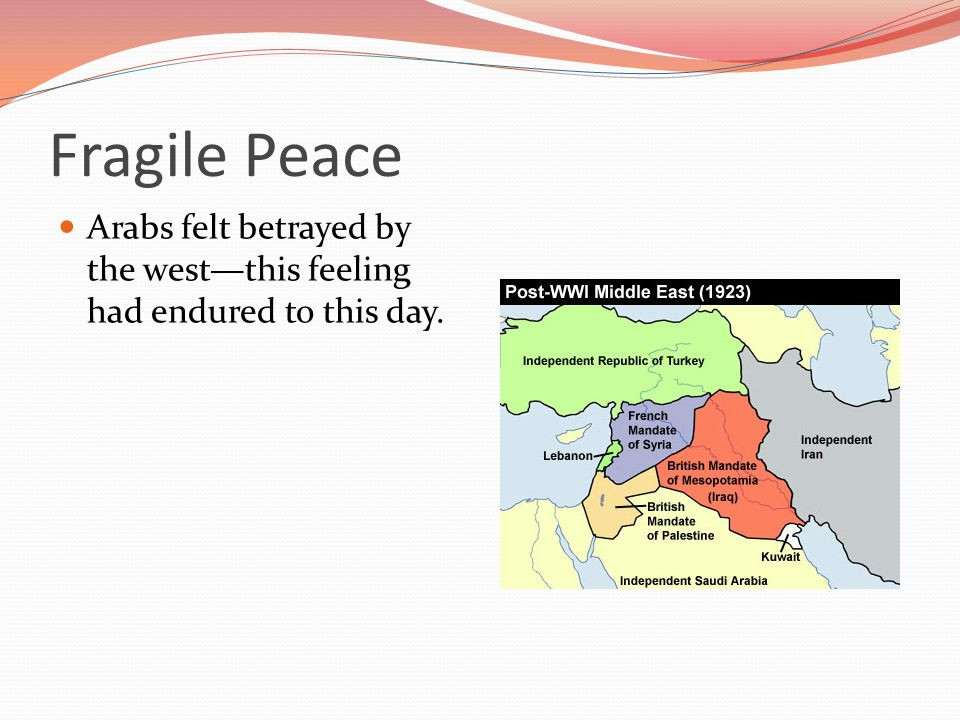 Fragile Peace Arabs felt betrayed by the west—this feeling had endured to this day.