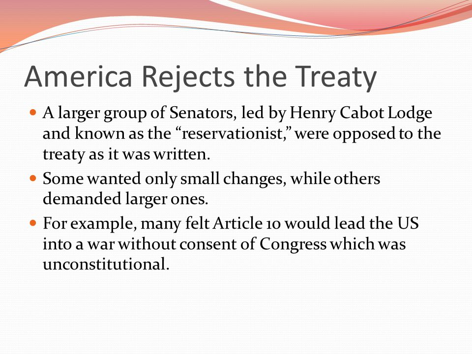America Rejects the Treaty