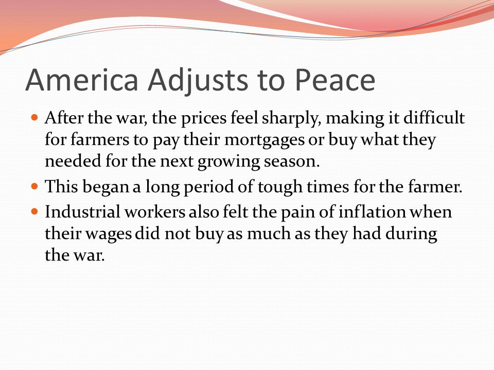 America Adjusts to Peace