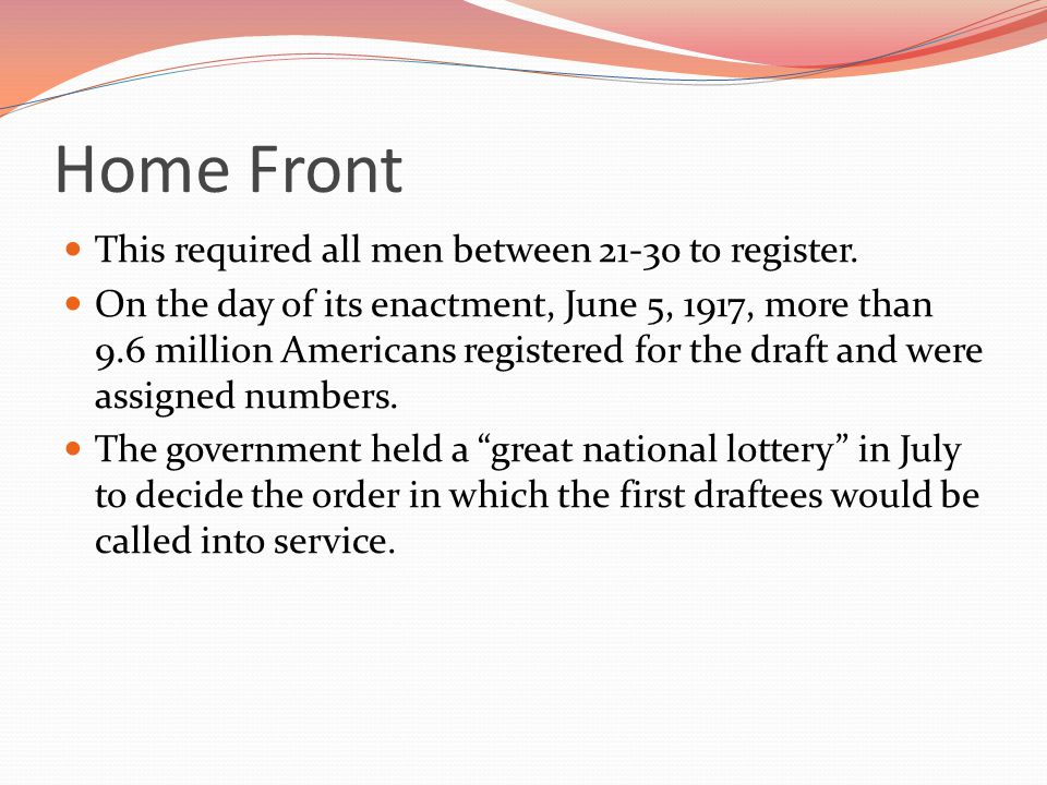 Home Front This required all men between 21-30 to register.