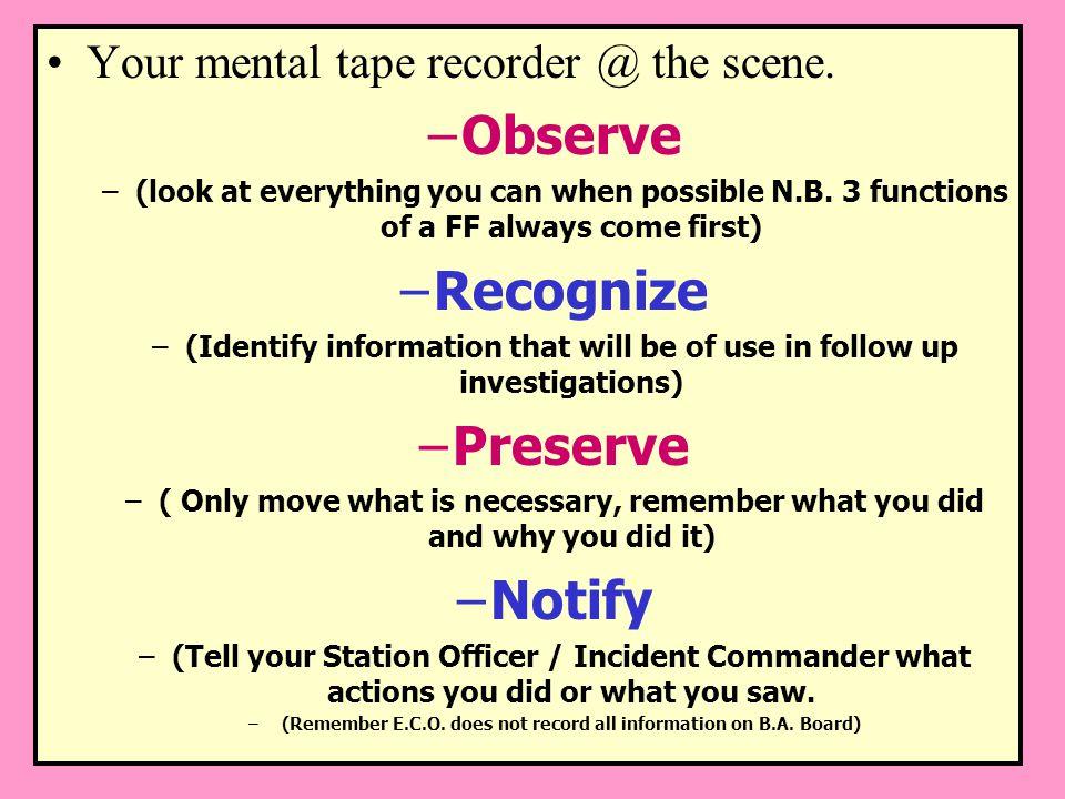 Observe Recognize Preserve Notify