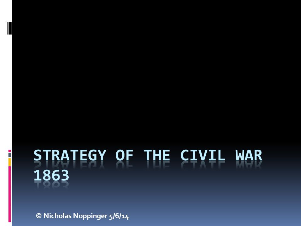 Strategy of the Civil War 1863
