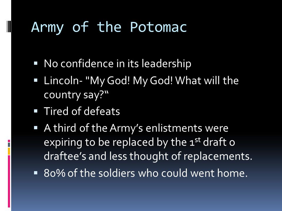 Army of the Potomac No confidence in its leadership