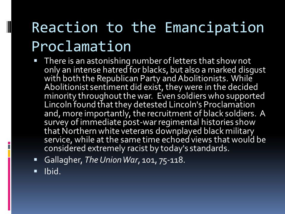 Reaction to the Emancipation Proclamation