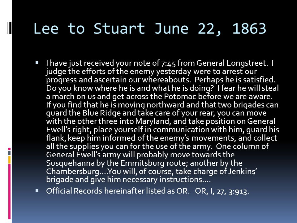 Lee to Stuart June 22, 1863