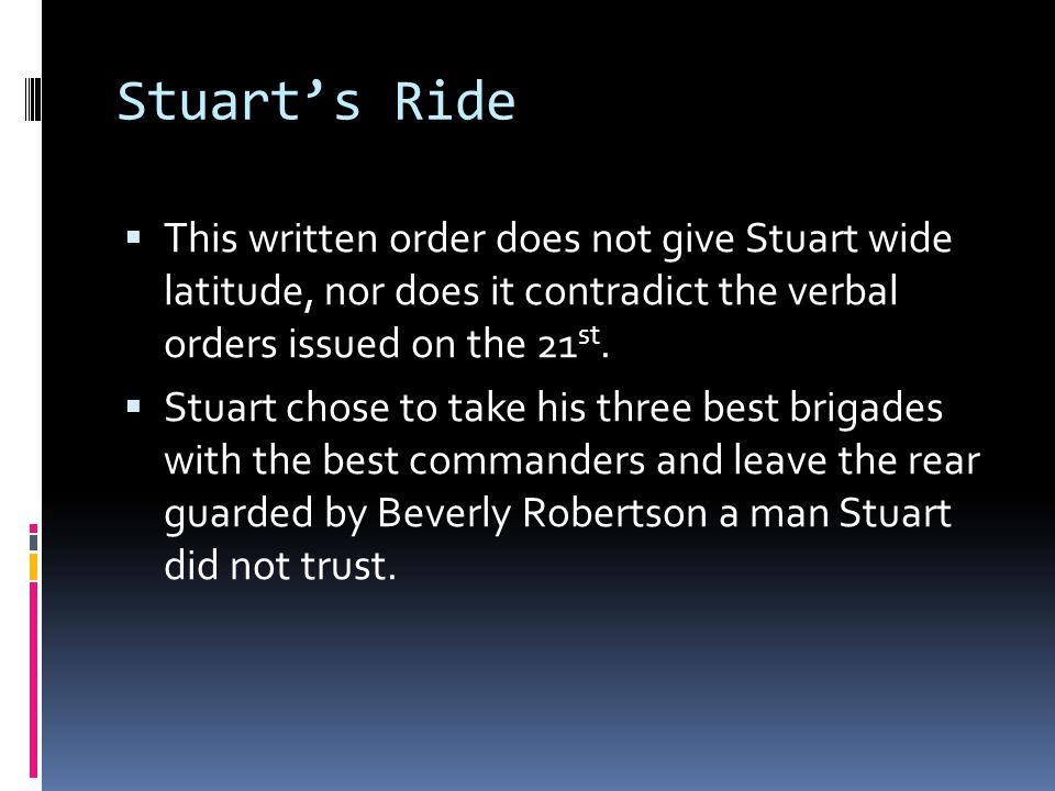 Stuart's Ride This written order does not give Stuart wide latitude, nor does it contradict the verbal orders issued on the 21st.