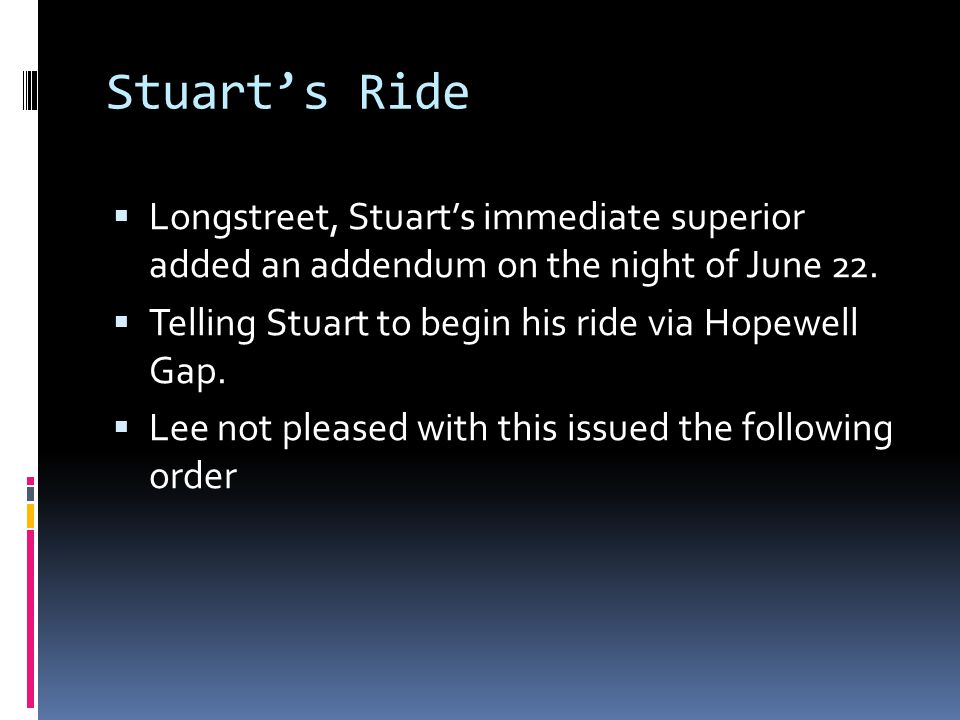 Stuart's Ride Longstreet, Stuart's immediate superior added an addendum on the night of June 22.