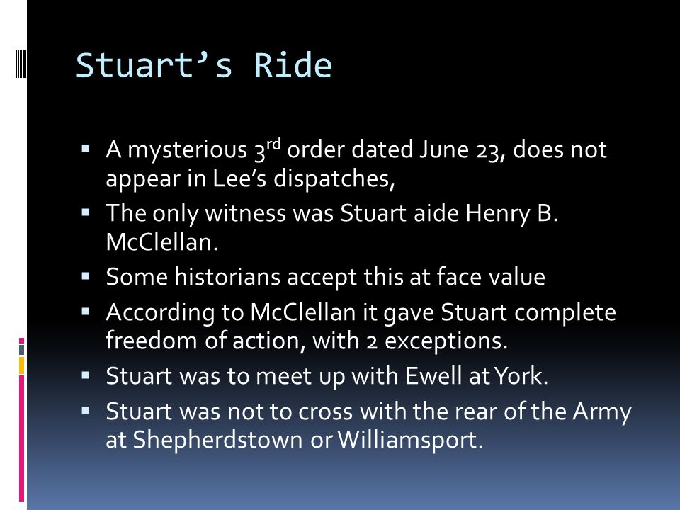 Stuart's Ride A mysterious 3rd order dated June 23, does not appear in Lee's dispatches, The only witness was Stuart aide Henry B. McClellan.