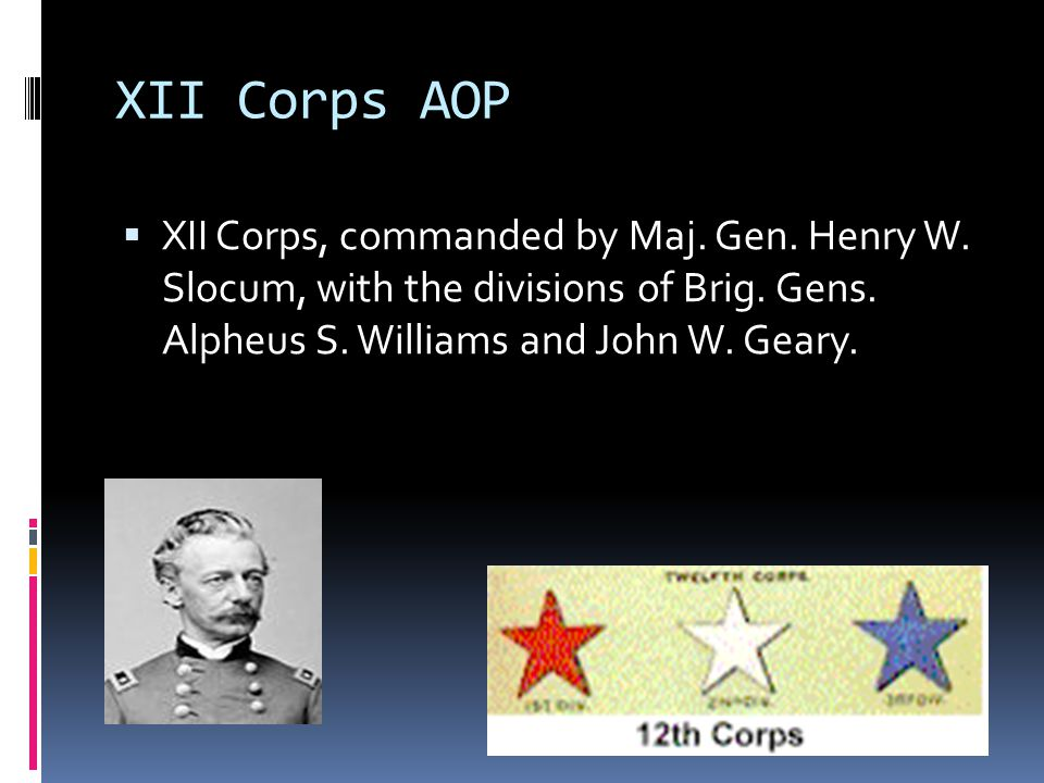 XII Corps AOP XII Corps, commanded by Maj. Gen. Henry W.