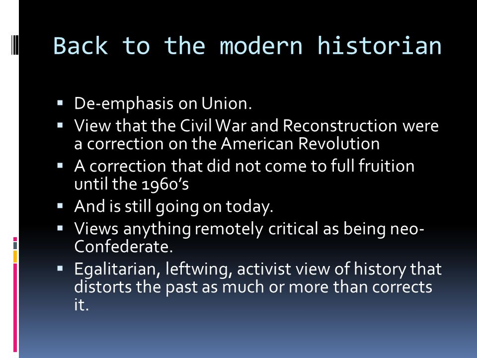 Back to the modern historian