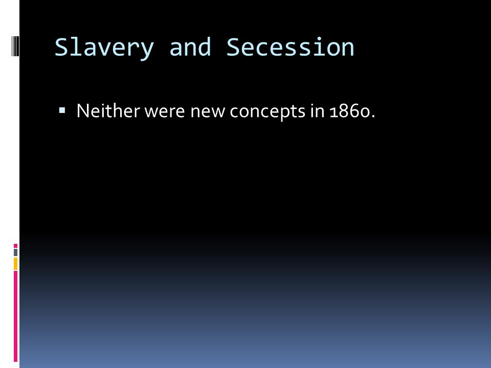 Slavery and Secession Neither were new concepts in 1860.