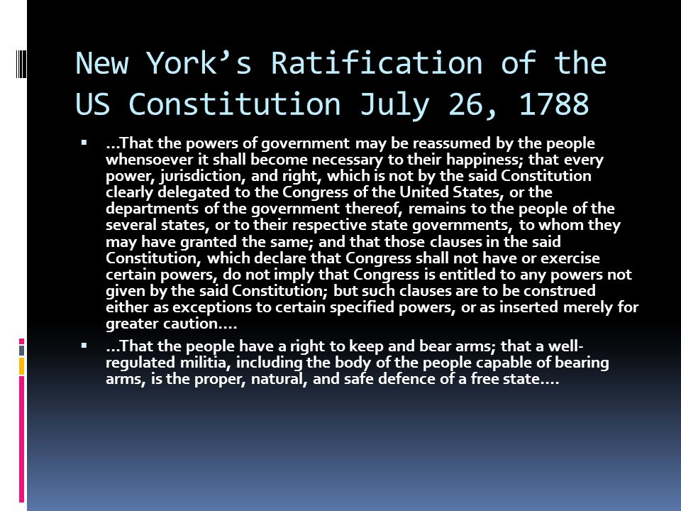 New York's Ratification of the US Constitution July 26, 1788