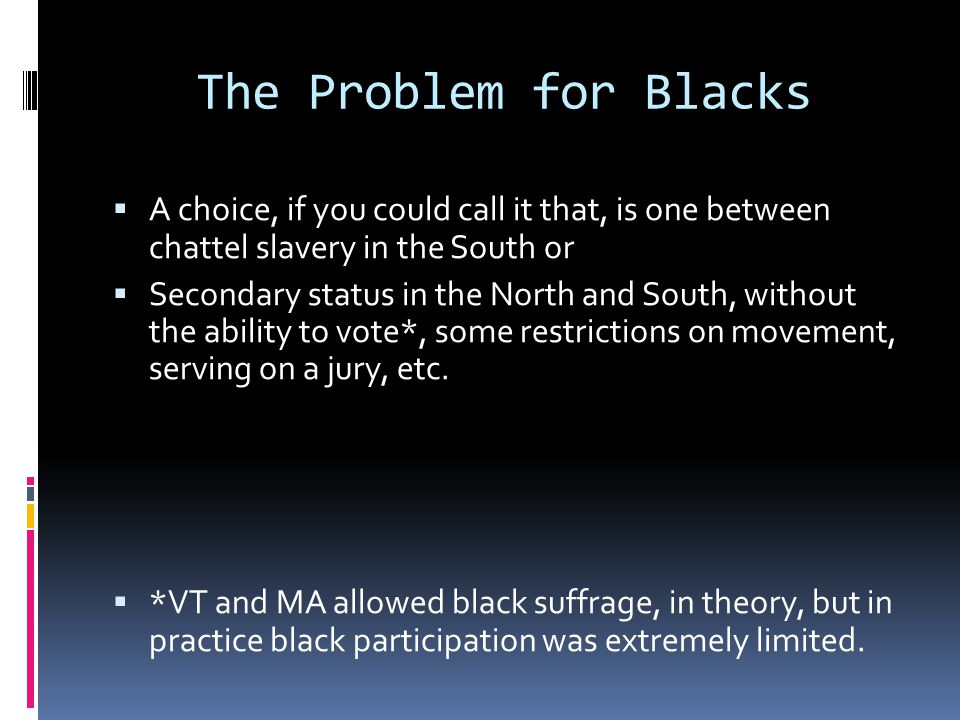 The Problem for Blacks A choice, if you could call it that, is one between chattel slavery in the South or.