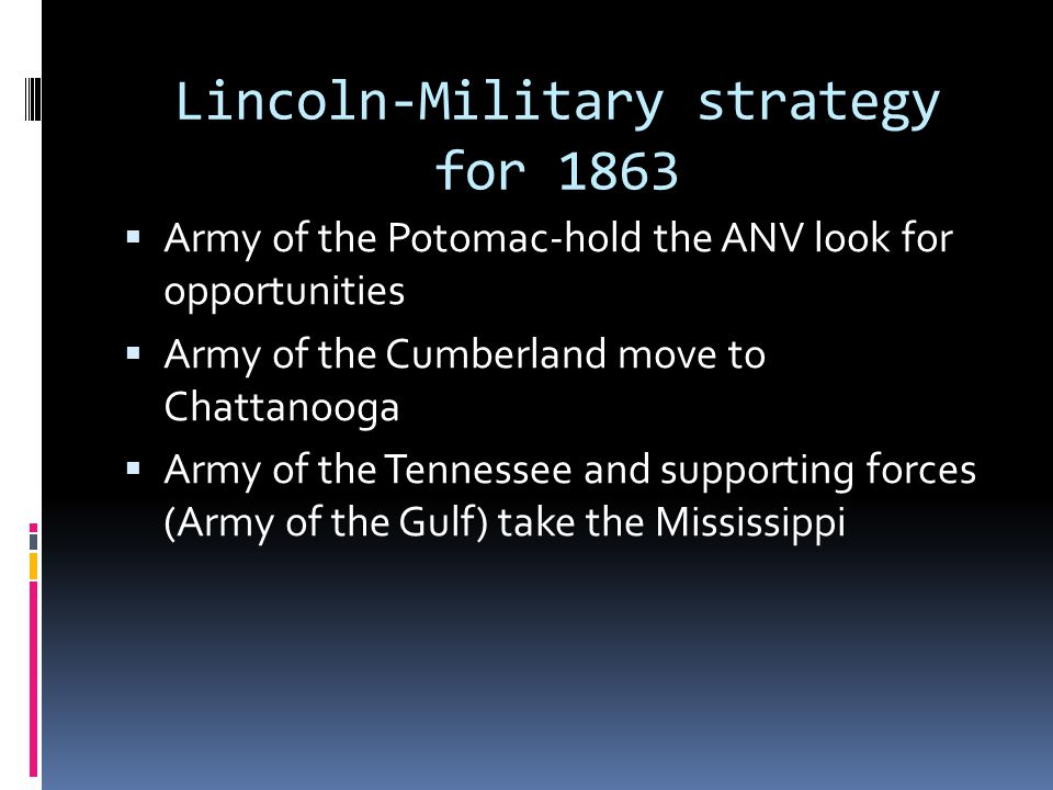 Lincoln-Military strategy for 1863
