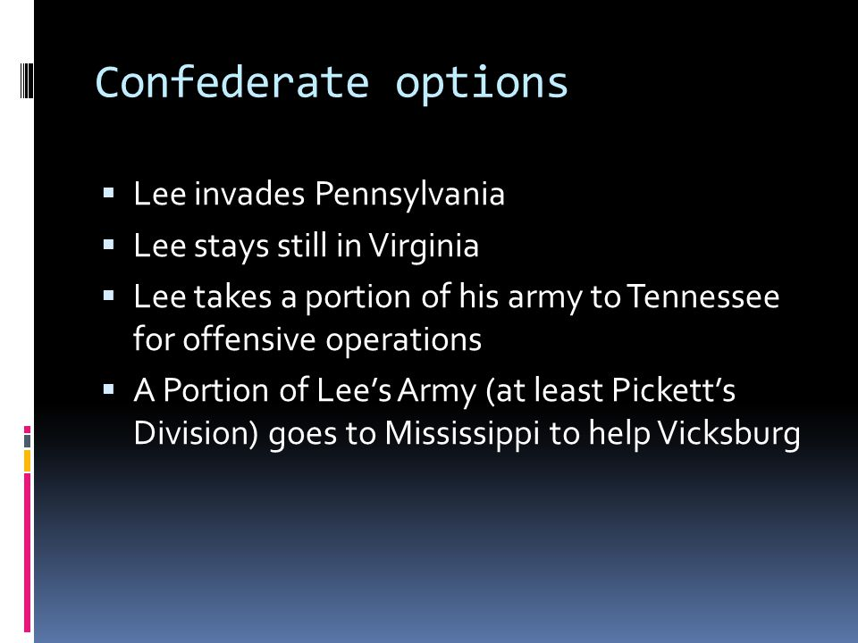 Confederate options Lee invades Pennsylvania