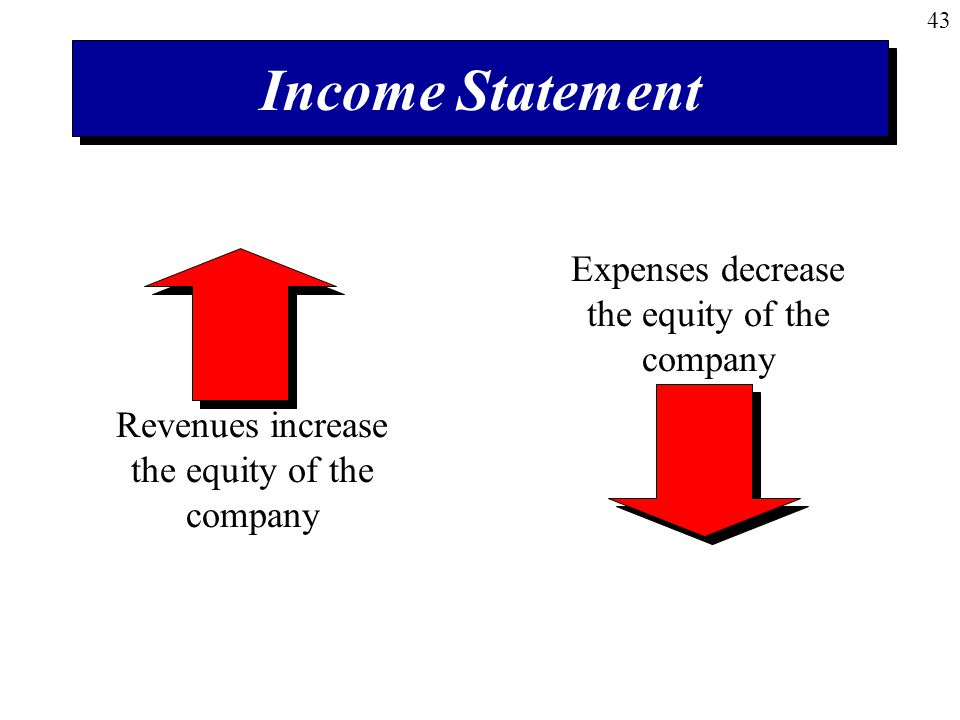 Income Statement Expenses decrease the equity of the company