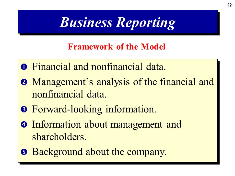 Business Reporting Financial and nonfinancial data.