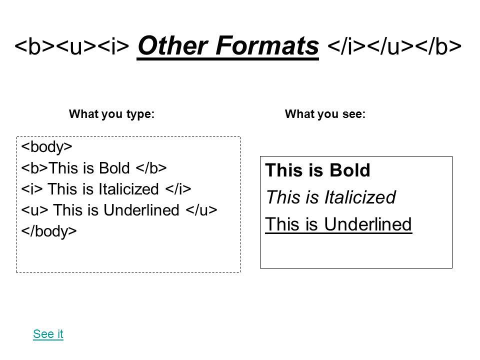 <b><u><i> Other Formats </i></u></b>